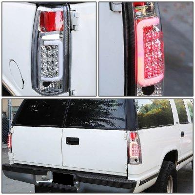 Chevy 3500 Pickup 1988-1998 Chrome LED Tail Lights Tube