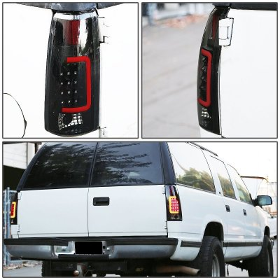 Chevy 3500 Pickup 1988-1998 Black Smoked LED Tail Lights Red Tube