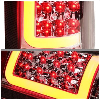 Cadillac Escalade 1999-2000 Chrome LED Tail Lights Red Tube