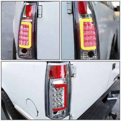 Chevy Tahoe 1995-1999 Chrome LED Tail Lights Red Tube