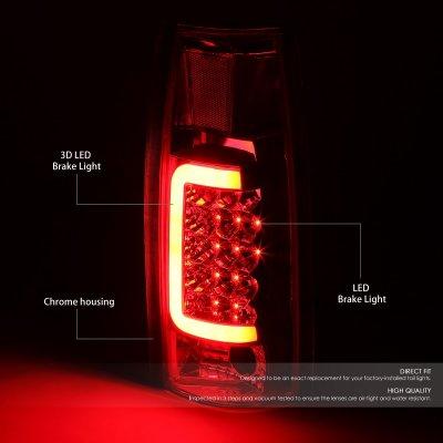 GMC Sierra 1988-1998 Chrome LED Tail Lights Red Tube