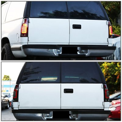 Chevy Tahoe 1995-1999 Smoked LED Tail Lights Red Tube