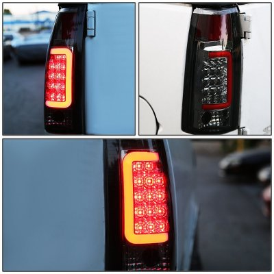 1990 GMC Sierra Smoked LED Tail Lights Red Tube