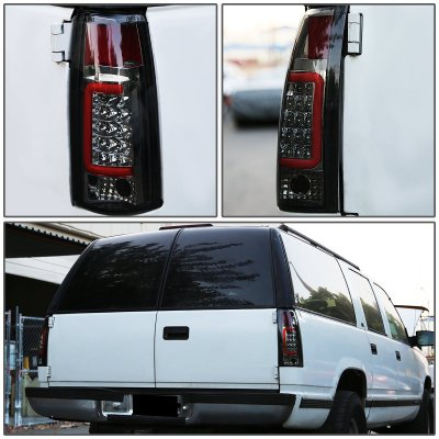 GMC Sierra 1988-1998 Smoked LED Tail Lights Red Tube
