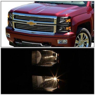 Chevy Silverado 1500 2014-2015 Black Headlights