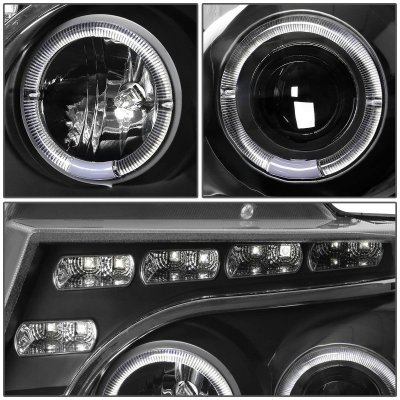 Ford F150 2004-2008 Black Halo Projector Headlights LED