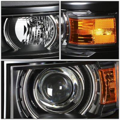 Chevy Silverado 1500 2014-2015 Black Projector Headlights