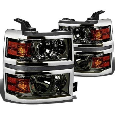 Chevy Silverado 1500 2014-2015 Smoked Projector Headlights