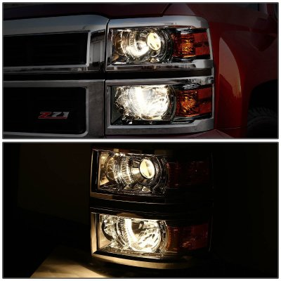 Chevy Silverado 1500 2014-2015 Smoked Projector Headlights