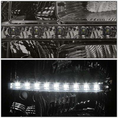 GMC Sierra 2007-2013 Smoked Headlights LED DRL