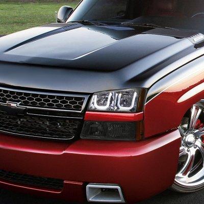 Chevy Silverado 2500 2003-2004 Smoked LED DRL Headlights Bumper Lights