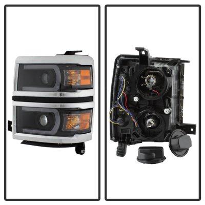 Chevy Silverado 1500 2014-2015 Black LED DRL Tube Projector Headlights
