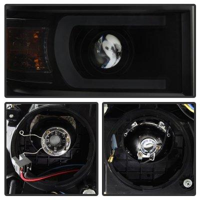 Chevy Silverado 1500 2014-2015 Black Smoked LED DRL Tube Projector Headlights