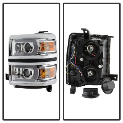 Chevy Silverado 1500 2014-2015 LED DRL Tube Projector Headlights