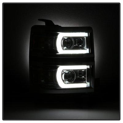 Chevy Silverado 1500 2014-2015 LED DRL Tube Projector Headlights