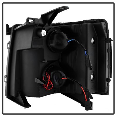 Chevy Silverado 2007-2013 Black LED DRL Projector Headlights