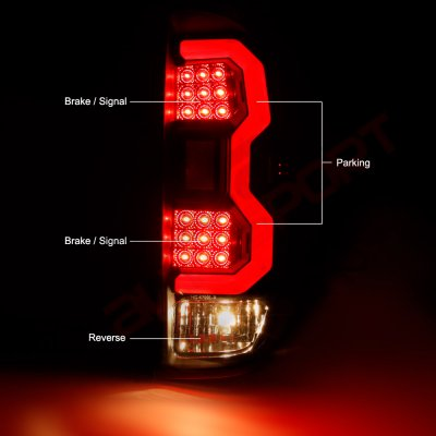 ... Toyota Tundra 2014 2017 Black LED DRL Projector Headlights LED Tail  Lights Tube ...