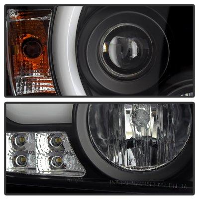 2015 GMC Sierra 3500HD Black LED DRL Projector Headlights