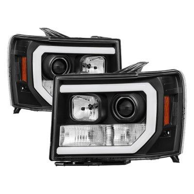 GMC Sierra 2007-2013 Black LED DRL Projector Headlights