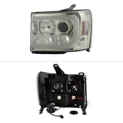 GMC Sierra 2007-2013 Smoked LED DRL Projector Headlights
