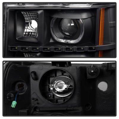 GMC Sierra 2007-2013 Black Halo Projector Headlights LED