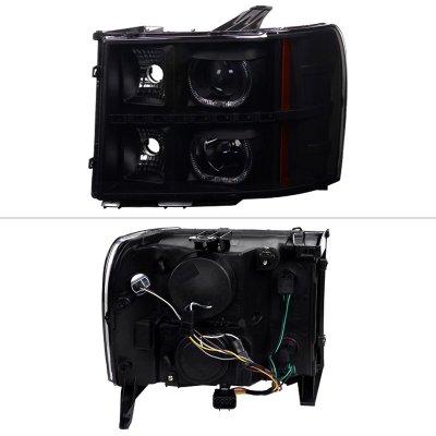 GMC Sierra 2007-2013 Black Smoked Halo Projector Headlights LED
