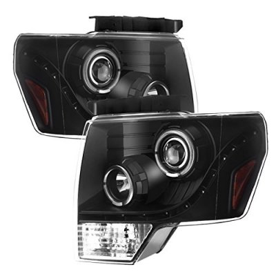 Ford F150 2009-2014 Black LED DRL Halo Projector Headlights