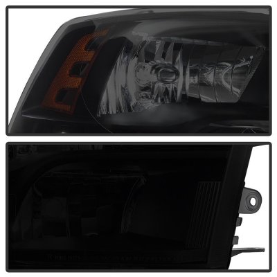 Dodge Ram 2009-2018 Black Smoked Quad Headlights