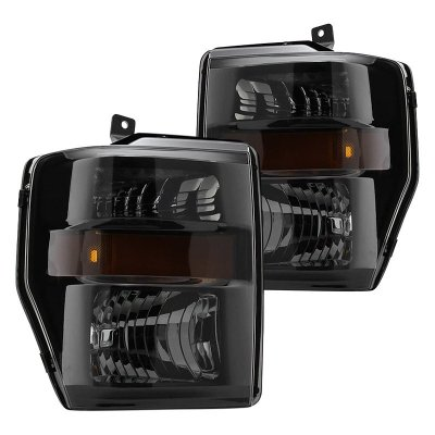 Ford F250 Super Duty 2008-2010 Black Smoked Headlights