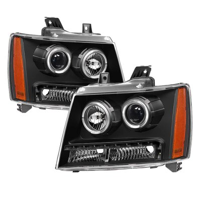 Chevy Suburban 2007-2014 Black Halo Projector Headlights LED