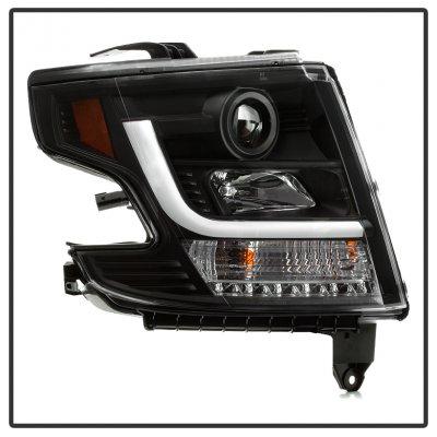 Chevy Suburban 2015-2020 Black LED DRL Projector Headlights