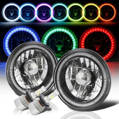 Chevy C10 Pickup 1967-1979 Color SMD Black Chrome LED Headlights Kit Remote