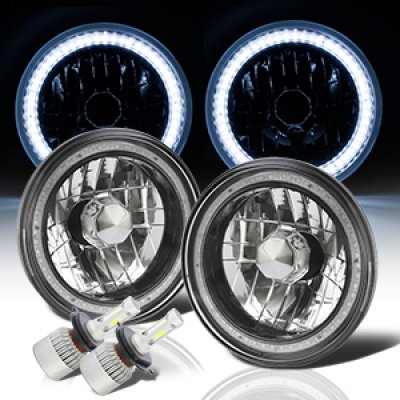Ford Courier 1979-1982 SMD Halo Black Chrome LED Headlights Kit