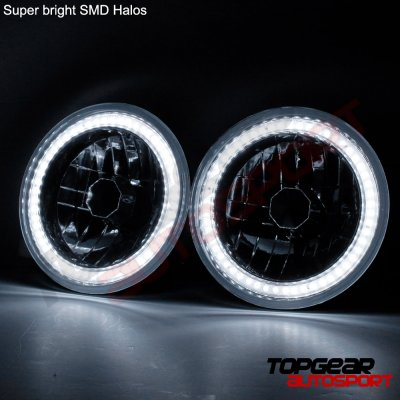 Hummer H1 2002-2006 SMD Halo Black Chrome LED Headlights Kit