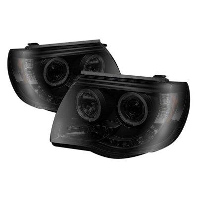 Toyota Tacoma 2005-2011 Black Smoked Dual Halo Projector Headlights LED