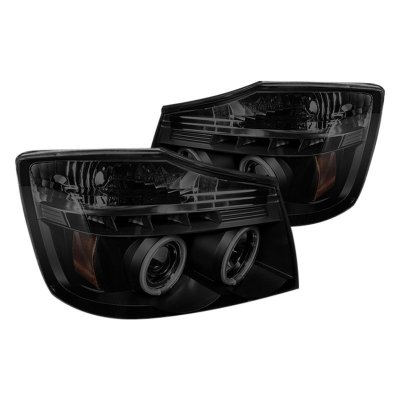 Nissan Armada 2004-2007 Black Smoked CCFL Halo Projector Headlights LED