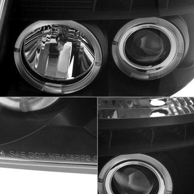 Nissan Armada 2004-2007 Black Smoked Halo Projector Headlights LED