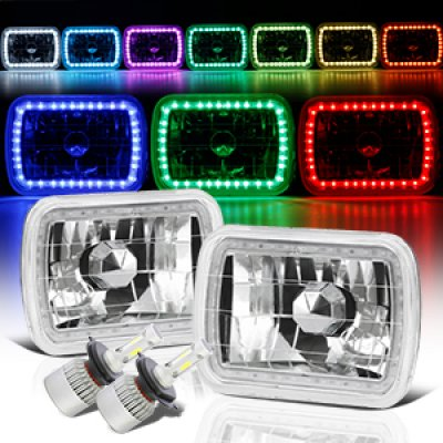 1995 Jeep Wrangler Color SMD Halo LED Headlights Kit Remote