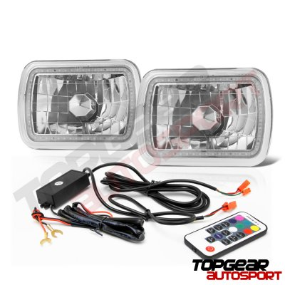 Jeep Wrangler 1987-1995 Color SMD Halo LED Headlights Kit Remote
