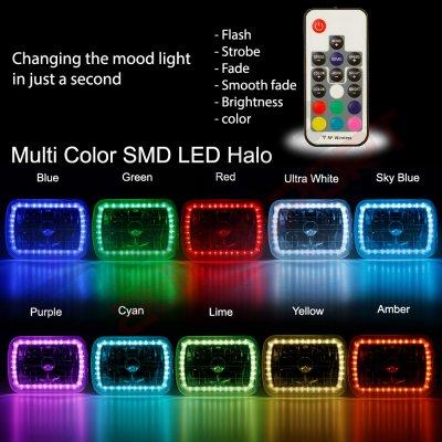 Dodge Ram 250 1981-1993 Color SMD Halo LED Headlights Kit Remote
