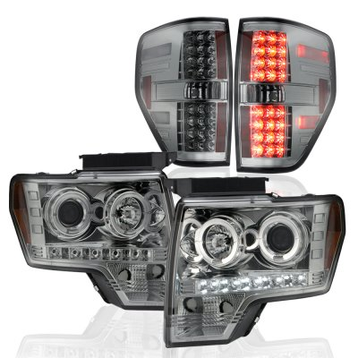 Ford F150 2009-2014 Smoked Projector Headlights and LED Tail Lights