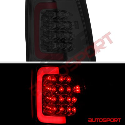 Chevy Silverado 2500HD 2003-2006 Smoked LED DRL Headlights Bumper Lights LED Tail Lights Red Tube
