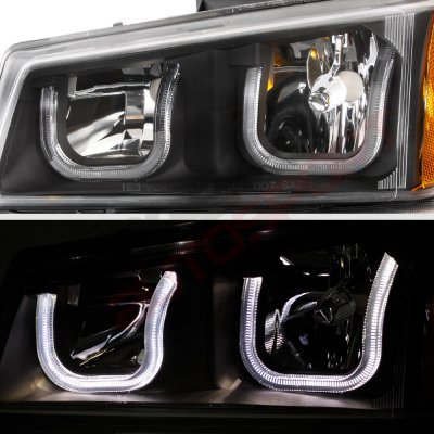 Chevy Silverado 2500HD 2003-2004 Black Grille LED DRL Headlights Tube Bumper Lights
