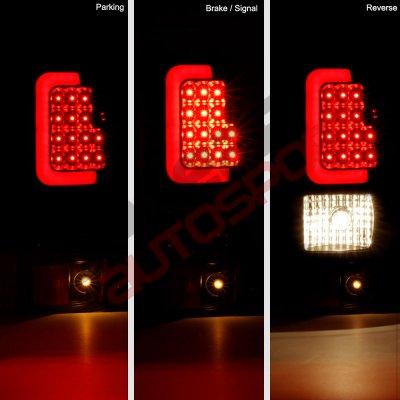 Chevy Silverado 2500HD 2003-2006 Smoked LED Tail Lights Red Tube
