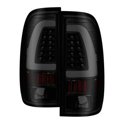 Ford F150 1997-2003 Black Smoked Tube LED Tail Lights
