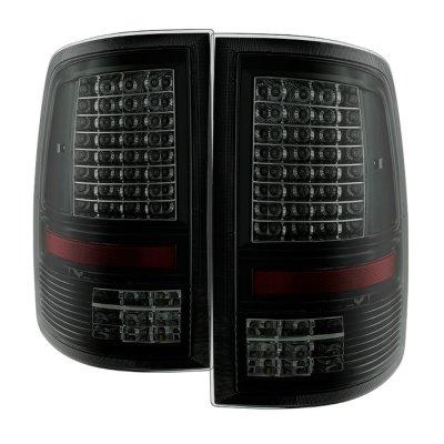 Dodge Ram 2009-2018 Black Smoked C-Custom Full LED Tail Lights