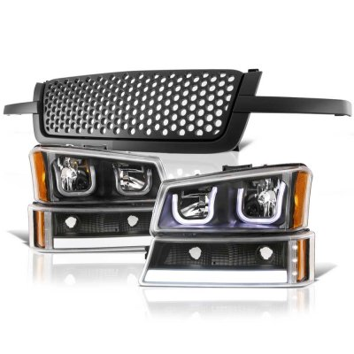 Chevy Avalanche 2003-2006 Black Custom Grille LED DRL Headlights Tube  Bumper Lights