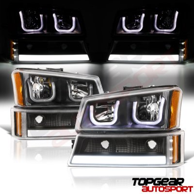 Chevy Silverado 1500 2003 2005 Black Custom Grille Led Drl Headlights Per Lights