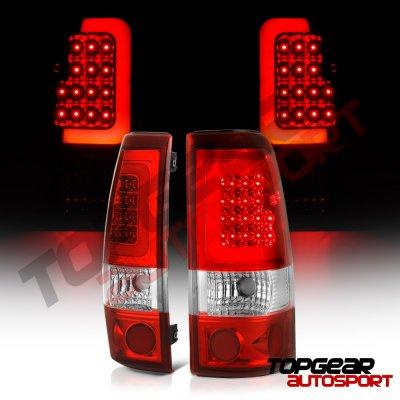 Chevy Silverado 2500HD 2003-2006 Black LED DRL Headlights Set LED Tail Lights Red Tube