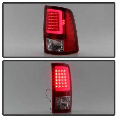 Dodge Ram 2500 2010-2018 Red Clear LED Tail Lights